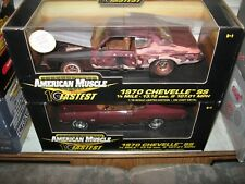1 18 ERTL 1970 CHEVELLE SS454 BLACK CHERRY CLASSIFIED UN RESTORED & REGULAR SET