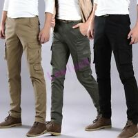 Mens Cargo Overalls Slim Fit Military Casual Cotton Trousers Combat Work Pants