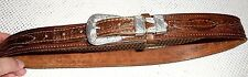 Vintage Leather Cowhide Handtooled Western Belt Silvertone Buckle Size 32 READ