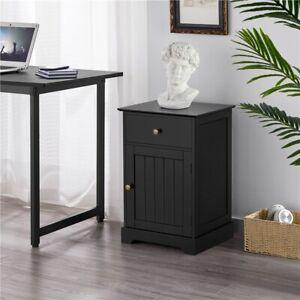 Bedside Table w/ Drawer & Door, Bedside Cabinet Nightstand,End Table White/Black