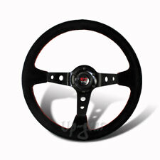 350MM 6 Hole Black Suede Leather Red Stitch Deep Dish Steering Wheel Universal 3
