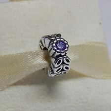 Authentic Pandora Charm 791224cfp Purple Twice As Nice Spacer W Tag & Suede Pouc