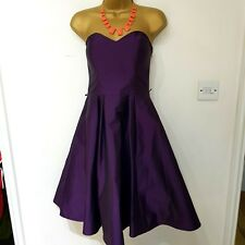 £100 Womens Debut Debenhams Purple Fit & Flare Dress Strappy Size 8 Prom Evening