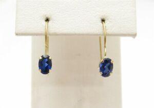 14K Yellow Gold Oval Sapphire 4 Prong Drop Earrings