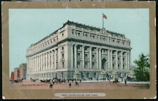 NYC NY 'New' Custom House Antique Gold Border City Postcard Old Town View PC