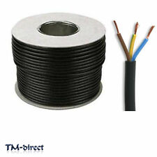 3183Y 3 Core 1mm Round Black Mains Electrical Cable Flex Wire BY THE METER
