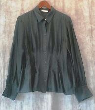 Coldwater Creek women's long sleeve blouse-button down-dark green-sz PXL(18)