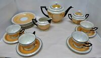 P A L T Czechoslovakia Gold and White Luster Tea Set