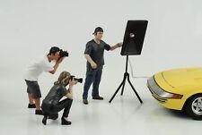 Figure Set 3 Pcs Photographer Weekend Car Show with Light 1:18 American Diorama