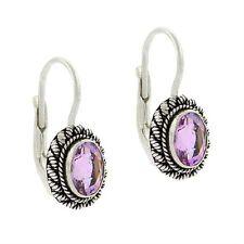 925 Silver Amethyst & Twisted Border Leverback Earrings
