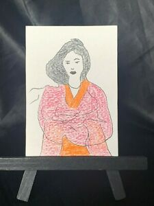 ACEO Original Red Kimono Medium Black Ink Marker & Prismacolor on Paper Signed
