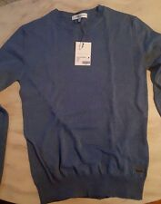 Pierre Balmain Virgin Wool Mens Crew Neck Knit Sweater Medium48 EU blue NWT $450