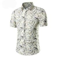 Luxury formal casual short sleeve summer t-shirt dress shirt slim fit floral