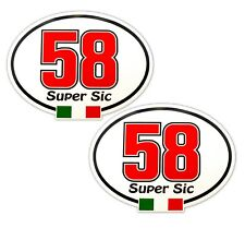 Super Sic Marco Simoncelli 58 Italian Stickers / Decals x 2 Italian Race Number