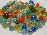 100 Vintage Classic Cats Eye Marbles Multicolor Red Blue Yellow Green Orange #4