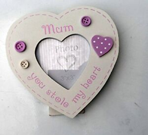 CUTE WOODEN PHOTO FRAME SMALL MOTHERS DAY GIFT FOR MUM CHINTZ SWEET RUSTIC HEART
