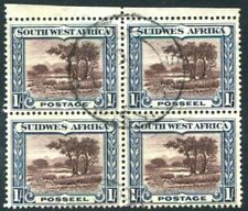 SOUTH WEST AFRICA-1931 1/- Chocolate & Blue Fine Used Block of 4  V23183