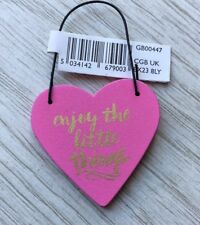 Small Pink Enjoy The Little Things Wooden Hanging Heart Gift