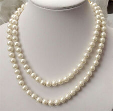 """Pearl round beads necklace 36"""" Aaa Pretty 8mm white South Sea Shell"""