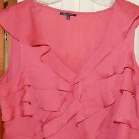 Women's Top Blouse AK ANNE KLEIN Flounces V-Neck Sleeveless Rose Pink M