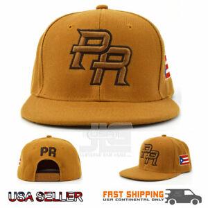 Puerto Rico Snap back Hat Flag 3D PR Flat Bill Rico Timber Color Acrylic Cap NEW