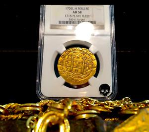 """PERU 1705 8 ESCUDOS """"1715 FLEET SHIPWRECK"""" NGC 58 PIRATE GOLD COINS DOUBLOONS"""
