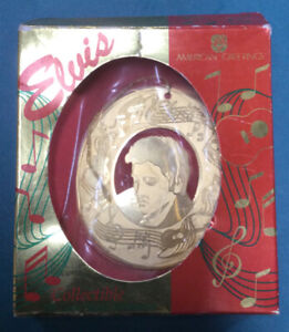 Elvis 18k Gold Plated American Greetings Ornament 1995 Collectible
