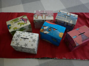 Wooden Money Boxes decoupaged and varnished