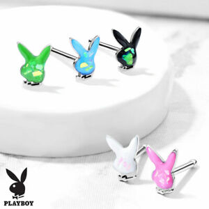 1pc Playboy Bunny 20g Nose Ring Opal Glitter Stud Bone Steel Officially Licensed