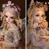60CM BJD Puppe 1/3 Mädchen Puppen Mit Gesicht Augen Make-up Perücken Kleidung