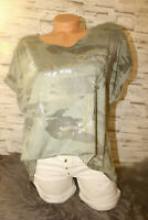 Italy New Collection Mickey Mouse T-Shirt khaki grau Gr. 36 38 40 42 blogger