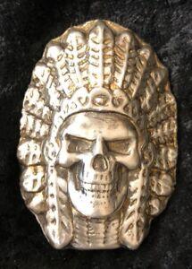 "5 Oz MK BarZ Hand Poured ""Skull Chief""  2D .999 Bar"