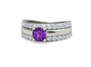 1.70 CT Round Cut Purple Amethyst & White Cubic Zirconia Fabulous Ring In 925 SS