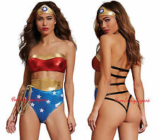 Sexy WONDER WOMAN SUPER HERO Two Piece Bedroom Costume Open Strappy BACKSIDE OS