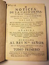 1757 NOTICIA DE LA CALIFORNIA by MIGUEL VENEGAS VOL I 1ST ED FIRST HISTORY OF CA
