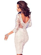 White Applique Lace Midi Party Wedding Occasion Dress Size UK 10-12