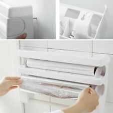 Kitchen Roll Holder Tin Foil Cling Film Paper Towel Wrap Dispenser Cutter