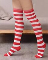 Candy Cane Thigh High Over The Knee Striped Stocking Socks Ladies Christmas Elf
