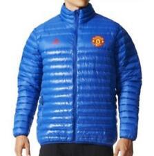NUOVI Pantaloncini Uomo Originale ADIDAS Manchester United FC Piumino Blu Top UK Taglia XXXL