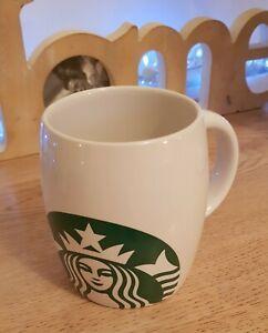 STARBUCKS GRANDE White Mermaid Logo Ceramic Barrel Mug 12oz