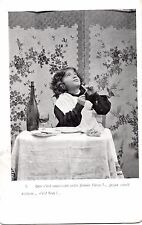 CE12.Vintage French Postcard. Child smoking like Dad
