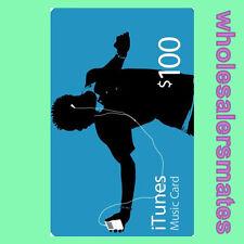 $100 Dollar Apple iTunes Gift Card Code USD Geschenk Karte US Store