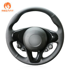 Soft Black Leather Steering Wheel Cover for Smart New Fortwo Forfour 2015-2017