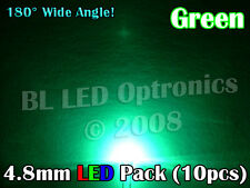 10x Ultra Wide Angle 4.8mm/5mm LED Pack PCB Kit Green