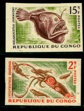 REPUBLIQUE DU CONGO 1964 MARINE FISH SCOTT #219/20 VAR IMPERF. RARE MNH