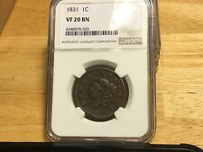 1831 NGC VF20 LARGE CENT PENNY FREE SHIPPING BEAUTIFUL! NICE OLD COPPER!!