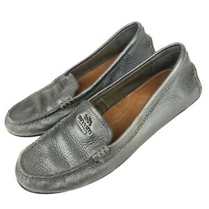Coach Leather Loafers Mary Lock Up Gray Silver Moccasin A00927 8.5B