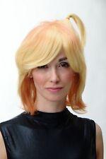 Perücke Damen Herren Cosplay halblang blond orange Stietz Zöpfchen SA081