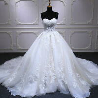 White Ball Gown Wedding Dresses Appliques Lace Beaded Bridal Gown Court Train