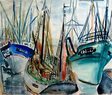 """Degenne M. (1903-1988) -  Aquarelle  """"Bateaux de pêche"""""""